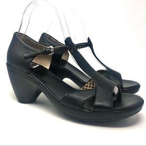 Camper Black Leather T Strap Heeled Sandals 39